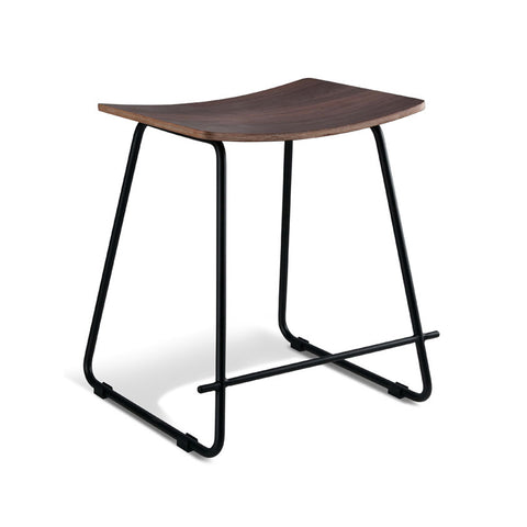 Walnut Stool with Black Frame (Set of 2) - Workspace Luxe