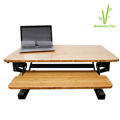Bamboo Standing Desk Converter - Workspace Luxe