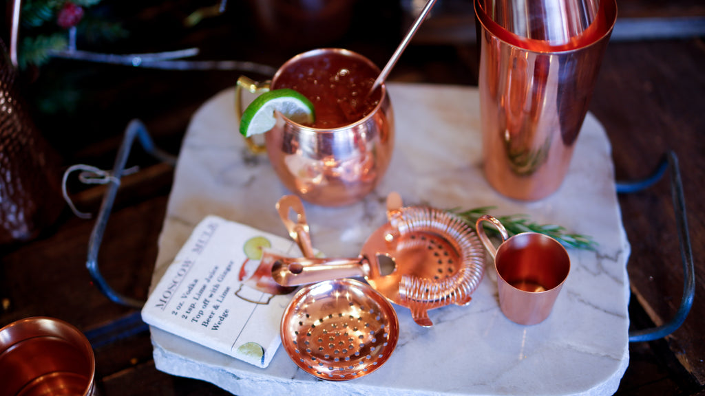 Shiny Copper Bar Strainer