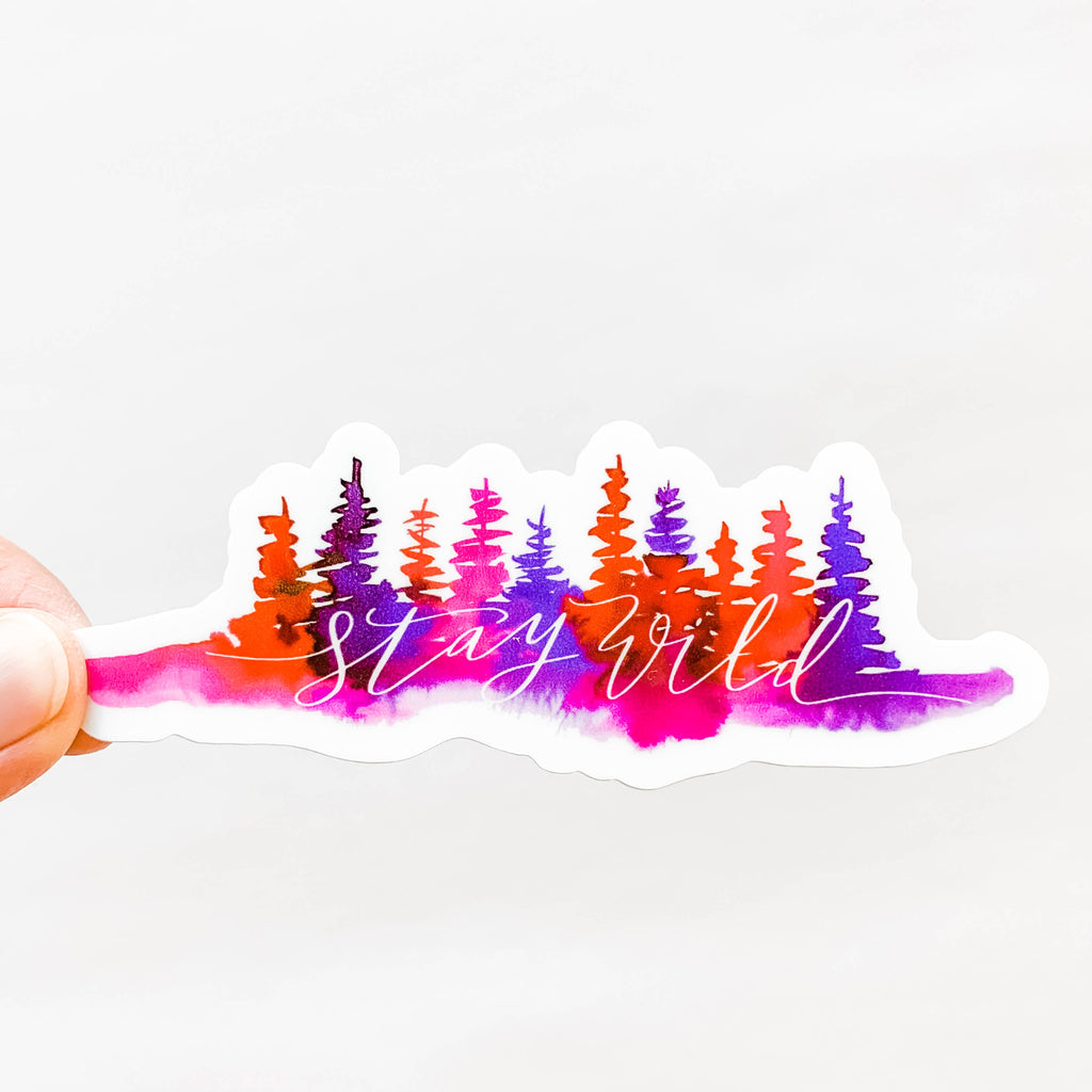 Wildflower Paper Company - Stay Wild Pink Purple Trees Sticker