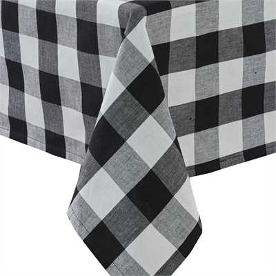Black and Cream- Wicklow Check Tablecloth