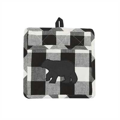 Black and cream-Wicklow Bear Pocket Potholder