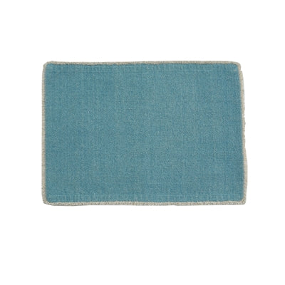 Aqua placemat with frayed edge
