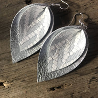 Jill's Jewels - Silver Chevron Double Leather Earring