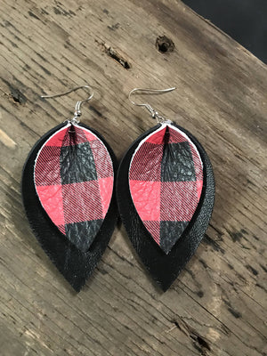 Jill's Jewels - Black and Red Buffalo Check Double Leather Earring