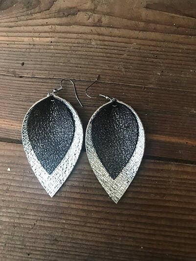Jill's Jewels - Black and Silver Sparkle Leather Earring
