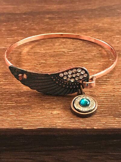 Jill's Jewels - Copper Rhinestone Feather Bullet Bracelet