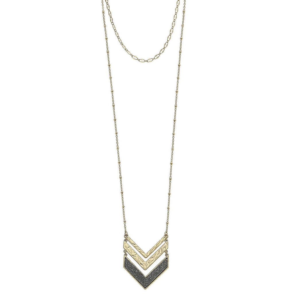 Project Halo - Layered Chevron Druzy Necklace