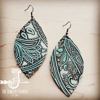 The Jewelry Junkie - Leather Oval Earrings in Embossed Turquoise Paisley 204b