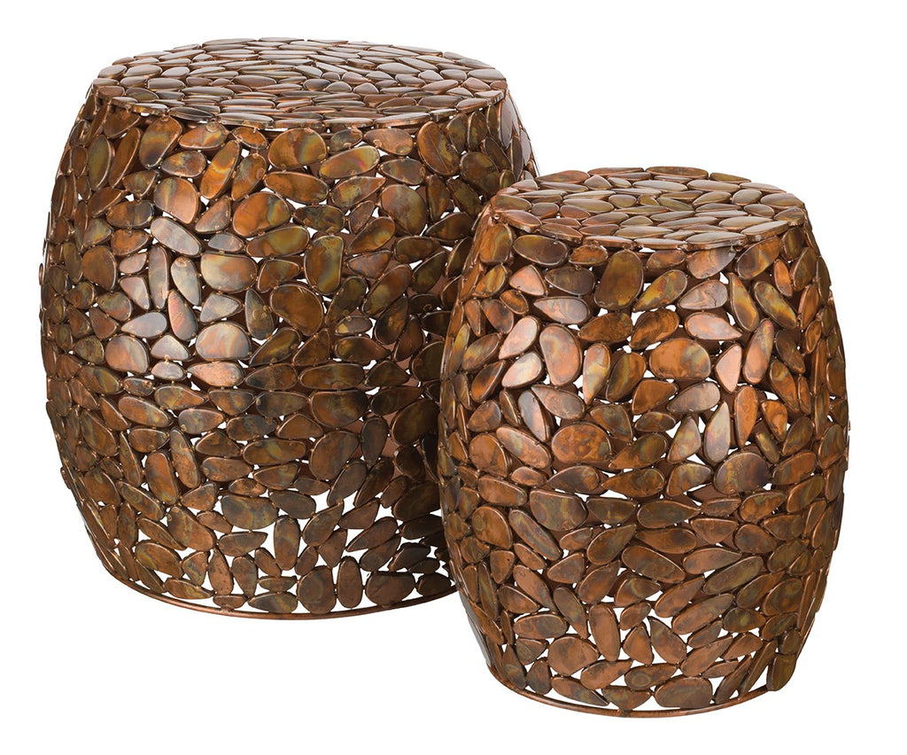 Garden Stool Set/2 - Copper Pebbles