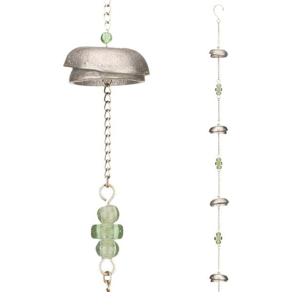 Rain Bells Rain Chain With Green Glass
