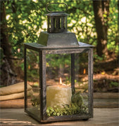 Black Antique Zinc Square Lantern with Glass
