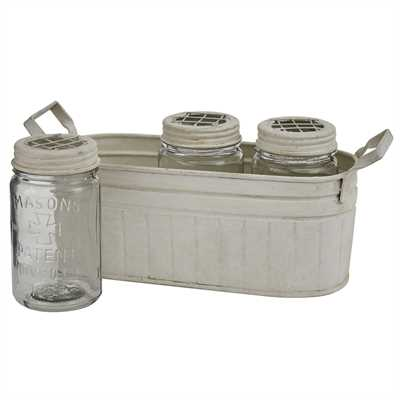 3 Frog Lid Mason Jars with Caddy
