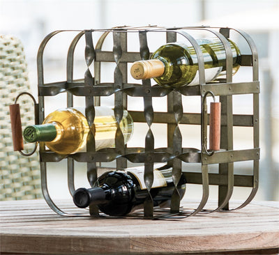 9 Bottle Metal Crate Wine Rack