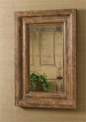 Wooden brown mirror with distressing