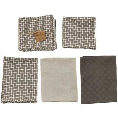 Weathered Oak 3 Dishtowel & 1 Dishcloth Set