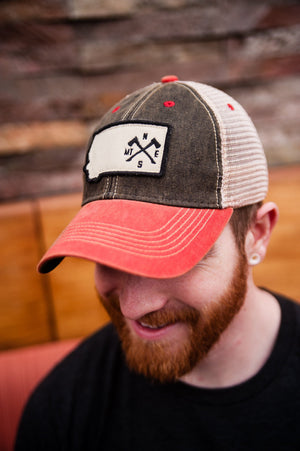 Crossed Axes Trucker in Black / Red/ Khaki