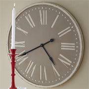 Wood Clock-Taupe 36""