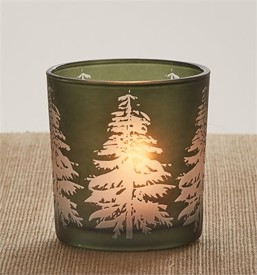 Tree Silhouette Glass Votive Holder