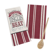 Two Tea Towels & Wooden Spoon Set