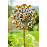 "75""H Wind Spinner, Copper and Gold Flower"