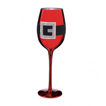 Red Metallic Santa Belt Wine Glass