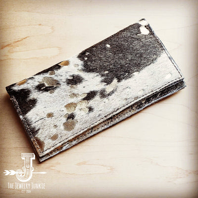 -Hair-on-hide Leather Wallet- Mixed Metallic 300v