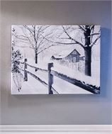 Lighted Winter Farm House Print