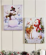 Lighted Canvas Print Wall Decor (Snowman)