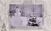 Canvas LED Lighted Snowman Design Print