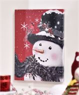 Canvas LED Snowman Print