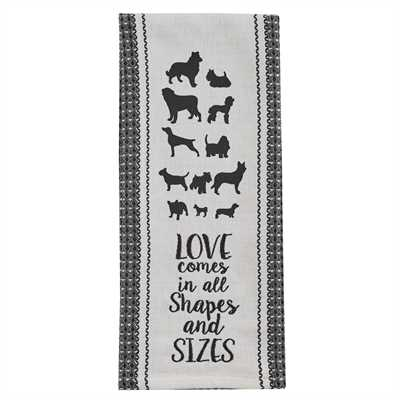 Love Dogs Print/Embroidered Dishtowel