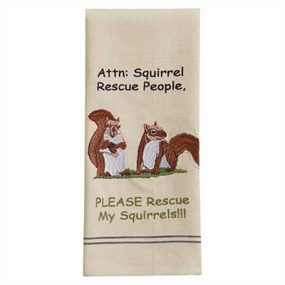 Squirrel Rescue Embroidered Dishtowel