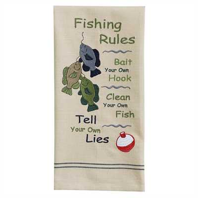 Fishing Rules Embroidered Dishtowel
