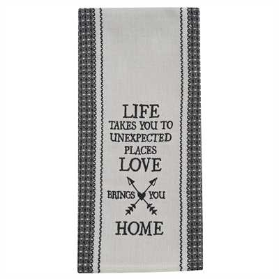 Life Takes You Embroidered Dishtowel