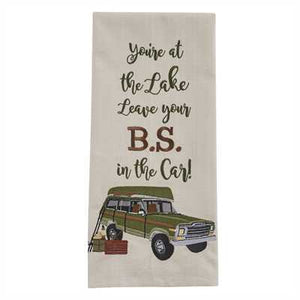 You're at the lake-Leave Your Bs Embroidered Dishtowel