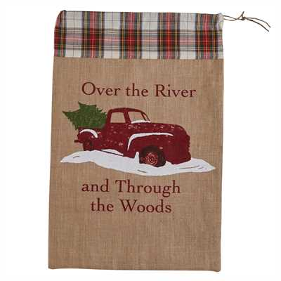 Over The River Print Santa Sack