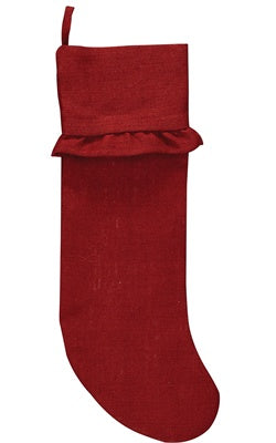JUTE BURLAP STOCKING RED