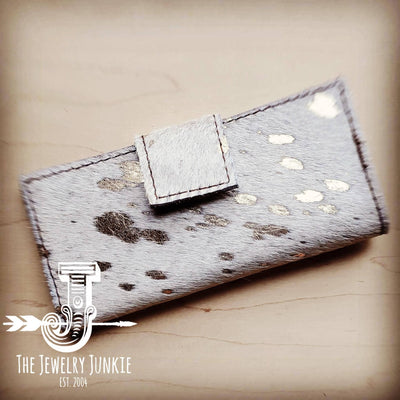 - Hair on Hide Leather Wallet in White Gold with Snap 301t