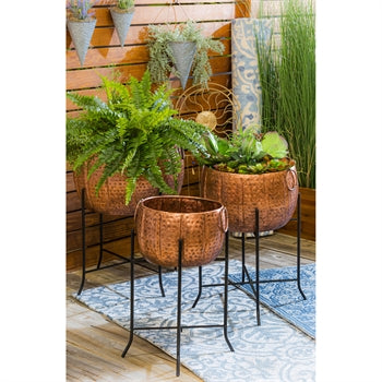 Set of 3 Copper Planters with Stand