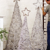WHITEWASH GIANT IRON TWIG TOPIARIES WITH STAR FINIALS