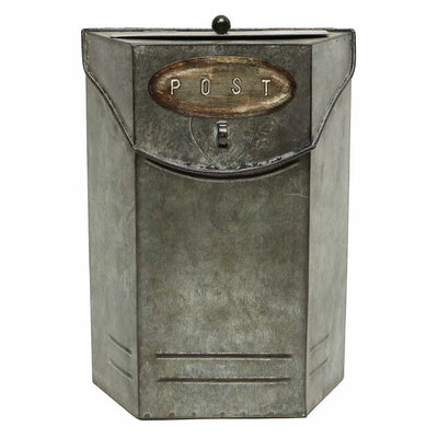 RECTANGLE POST BOX WEATHERED METAL  WITH DUAL TOP OPENING