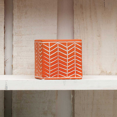 Square Orange Chevron Pot