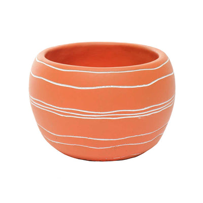 Orange round pot- Retro chic