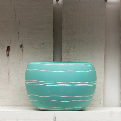 Round Teal Pot- Retro chic
