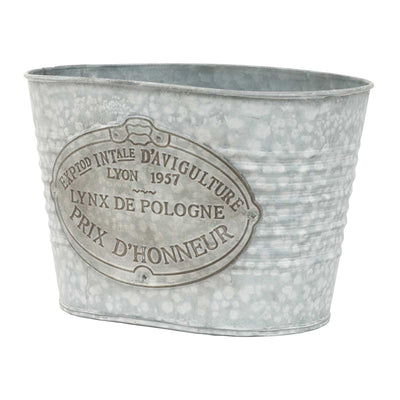 Metal Oval French Farmhouse Bucket-Large