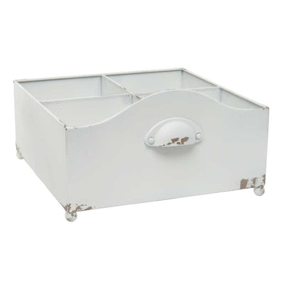 White Metal Drawer with 4 Dividers