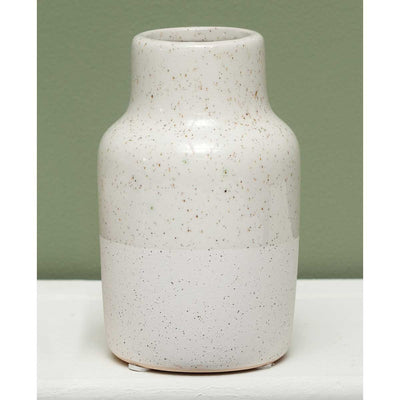 Ivory ceramic vase- two textured-small