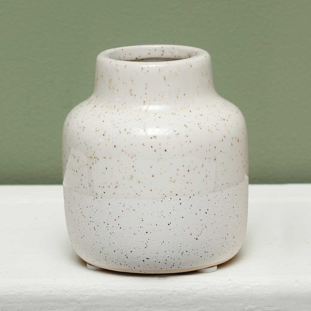 Ivory ceramic vase- two textured