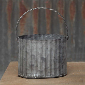 MINI OVAL METAL BUCKET with handle